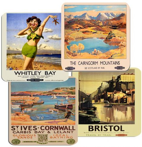 Vintage Railway Poster British Train Seaside Coasters Set Of 4 High Quality Cork